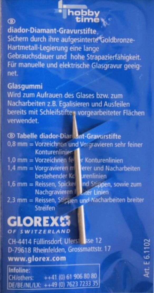 Diamantstift/glasgraveerstift 1.4 mm