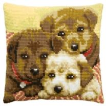 Kussenpakket in kruissteek, 40x40cm, puppies