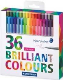 Staedtler fineliners, brilliant colours, assortiment 36 st