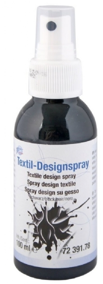Textiel design verfspray, 100 ml, zwart